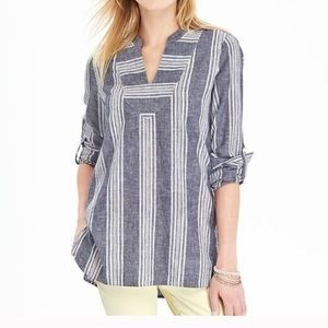 Old Navy Blue White Striped Linen Tunic